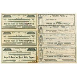 Seven Marysville Mining Stock Certificates