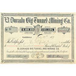 El Dorado Big Tunnel and Mining Company Stock Certificate