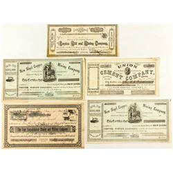 Five El Dorado County Mining Stock Certificates