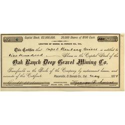 Oak Ranch Deep Gravel Mining Co. Stock Certificate