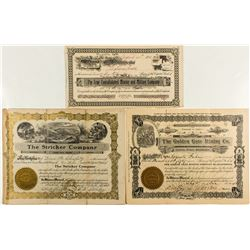 Three Placerville Mining Stock Certificates