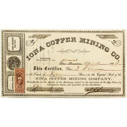 Iona Copper Mining Company stock certificate