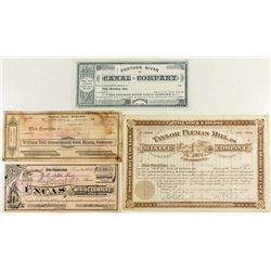 Four Mining Stock Certificates from Sierra County