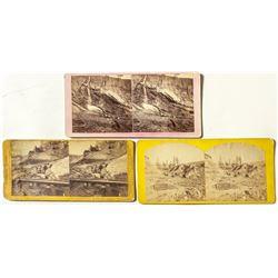 Hydraulic Mining Stereoviews Trio