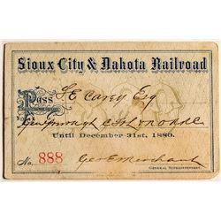 Sioux City & Dakota Railroad Pass (Territorial)