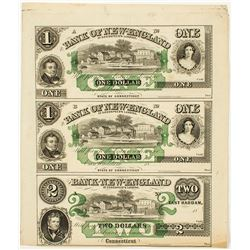 Bank of New England Uncut Currency