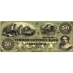 Timber Cutters Bank, $50 note, 1859