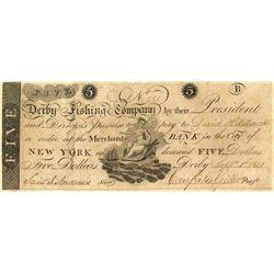 Derby Fishing Co. $5 on Merchants Bank Note, 1808