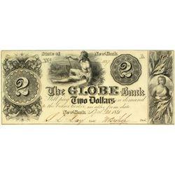 Globe Bank, $2 note, 1840.