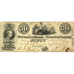 $50 Bill of Exchange from the Farmers Bank of Seneca Co.