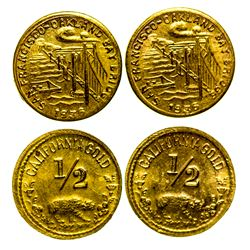 Two 1936 San Francisco/Oakland Bay Bridge/Cal Gold 1/2 Tokens