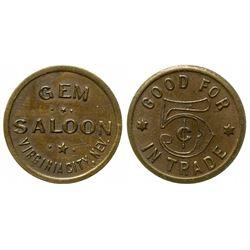 Gem Saloon Token (Virginia City, Nevada)