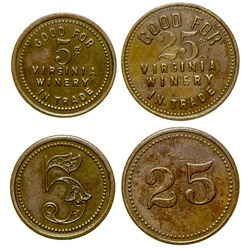 Virginia Winery Tokens (2) (Virginia City, Nevada)