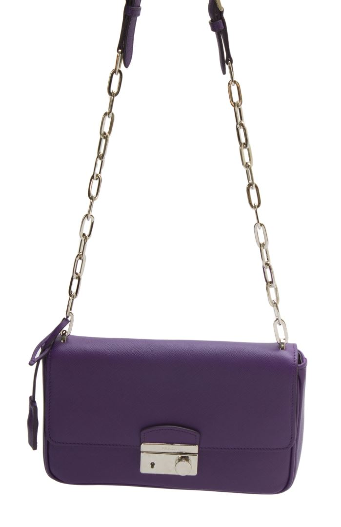 36d3667c Prada Purple Saffiano Leather Shoulder Bag