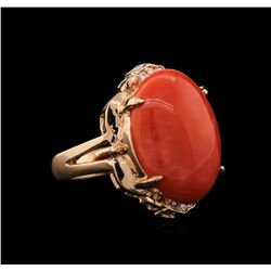 10.20ctw Coral and Diamond Ring - 14KT Rose Gold