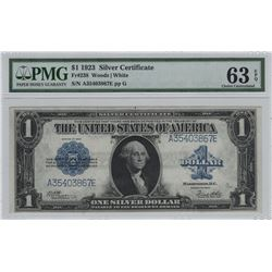 1923 $1 Silver Certificate Graded PMG CU 63 EPQ Woods / White Large Bill Note