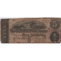 1864 $5 Confederate States of America Richmond Bank Note