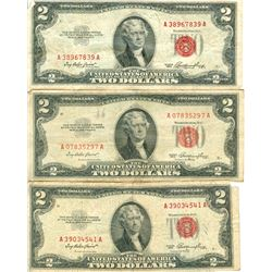 $2 Red Seal Legal Tender US Note - Lot of 5