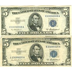 $5 Blue Seal Legal Tender US Silver Certificate - Lot of 5