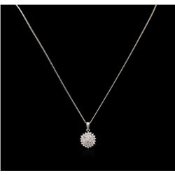 0.55ctw Diamond Pendant With Chain - 14KT White Gold