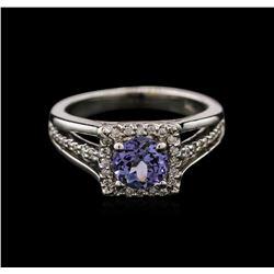 1.10ctw Tanzanite and Diamond Ring - 14KT White Gold