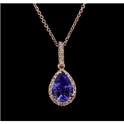 2.25ctw Tanzanite and Diamond Pendant With Chain - 14KT Rose Gold