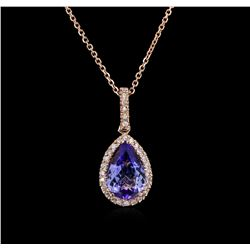 2.37ctw Tanzanite and Diamond Pendant With Chain - 14KT Rose Gold