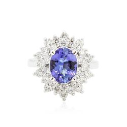 1.70ctw Tanzanite and Diamond Ring - 14KT White Gold