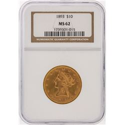 1893 NGC MS62 $10 Liberty Head Eagle Gold Coin