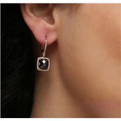 18KT Rose Gold 4.87ctw Black Diamond Earrings