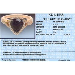 14KT Rose Gold 1.65ctw Black Diamond Ring