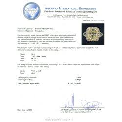 Platinum and 18KT Yellow Gold 5.91ctw Diamond Ring