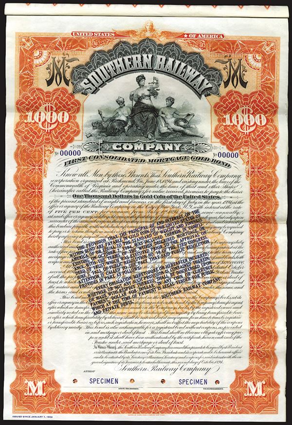 Southern Railway Co , 1894 (Reissued in 1934 With Gold Clause) Specimen 5%  Coupon Bond
