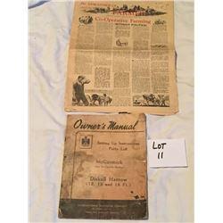 Vintage Tractor Manual & SK Farmer Paper