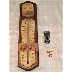 Vintage Thermometer & Date Stamp