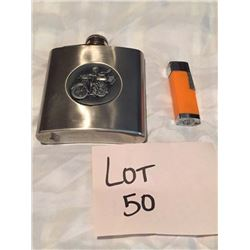 Motorcycle Flask & Lighter