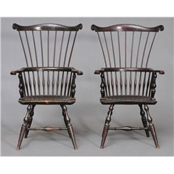 Pair of Wallace Nutting Comb Back Windsor Chairs