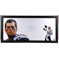 "Tom Brady Signed LE Patriots 23x49 Custom Framed Photo Display Inscribed ""4x SB Champ"" (TriStar COA)"