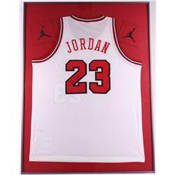 Michael Jordan Signed Bulls 30x40 Custom Framed Jersey Display (UDA)