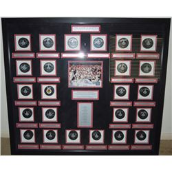 2010 Blackhawks Stanley Cup Champions Shadowbox Hockey Puck Display with (24) Signatures Including P