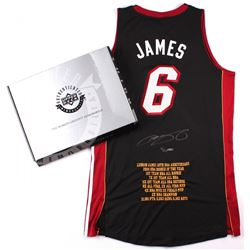 """LeBron James Signed Miami Heat Authentic Adidas """"10th Anniversary"""" Custom Embroidered Away Jersey #7"""