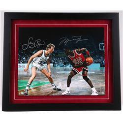 "Michael Jordan & Larry Bird Dual Signed 27"" x 23"" LE Custom Framed 20"" x 16"" Photo Display #23/33 (U"