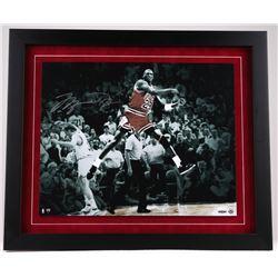 "Michael Jordan Signed 27"" x 23"" Custom Framed 20"" x 16"" ""The Shot Celebration"" Photo Display (UDA CO"