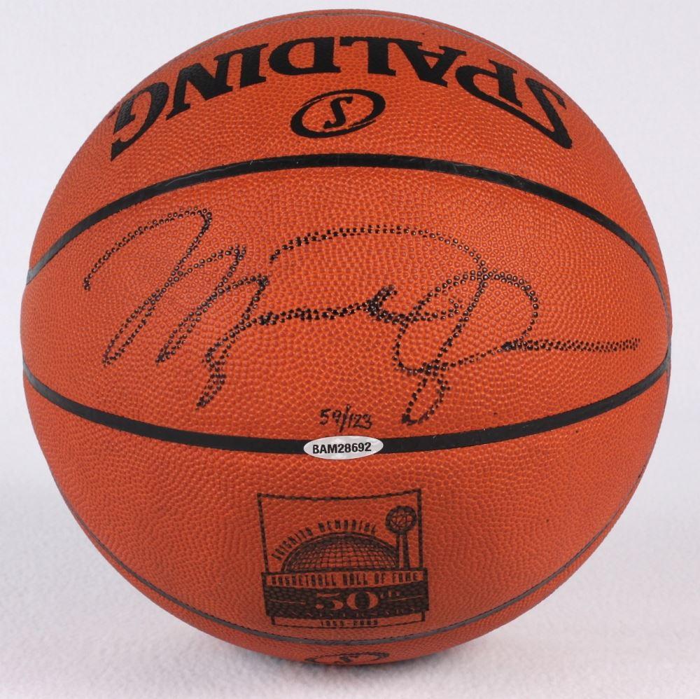 b3fddae486f Image 1 : Michael Jordan Signed LE 50th Anniversary HOF Official NBA Game  Ball (UDA ...