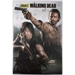 """Cast-Signed """"The Walking Dead"""" 22x32 Poster with (23) Signatures Including Andrew Lincoln, Steven Ye"""