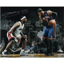 "LeBron James Heat Signed LE ""Match Up vs. Melo"" 16x20 Photo Inscribed ""vs. Melo"" #6/106 (UDA COA)"