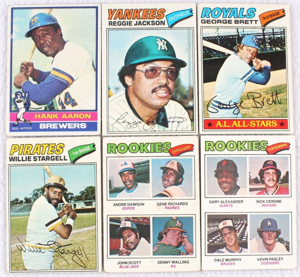Lot Of 6 1976 77 Topps Baseball Cards With Reggie Jackson