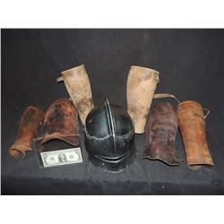 DARK AGES VINTAGE MEDIEVEL HELMET AND LEATHER ARMOR COULD BE A MUSEUM FIND!