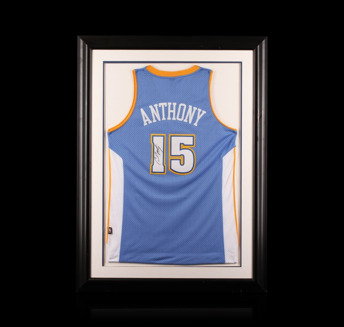 sale retailer acfab f3d57 Carmelo Anthony Framed Autographed Jersey