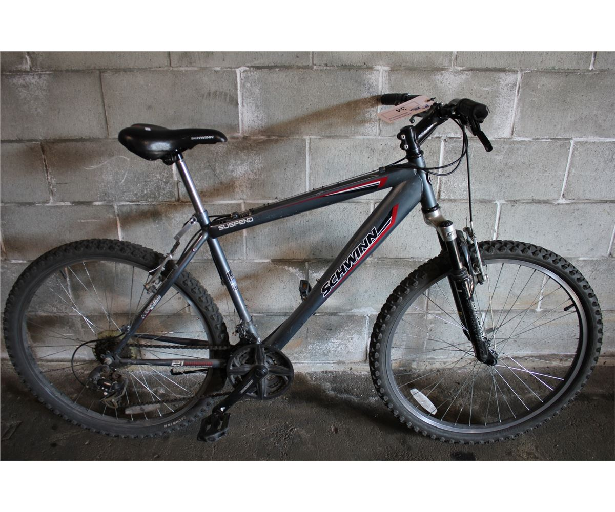 3a3003909 Image 1   GREY SCHWINN SUSPEND 21 SPEED FRONT SUSPENSION MOUNTAIN BIKE